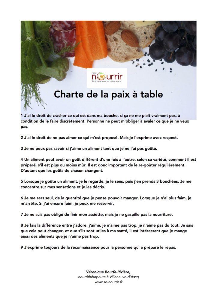 Charte de la Paix à table